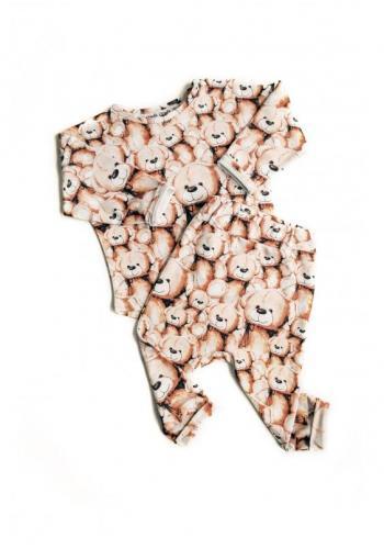 Biele nohavice s potlačou medvedíkov pre deti