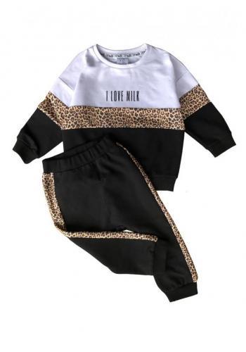 Čierne nohavice s leopardím vzorom na boku pre dievčatá