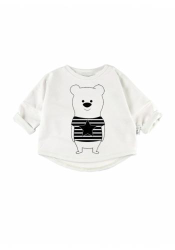 Detská mikina s motívom medvedíka v bielej farbe