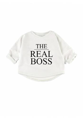 """Detská mikina s nápisom """"the real boss"""" v bielej farbe"""