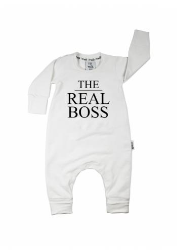 """Biely overal s nápisom """"the real boss"""" pre deti"""