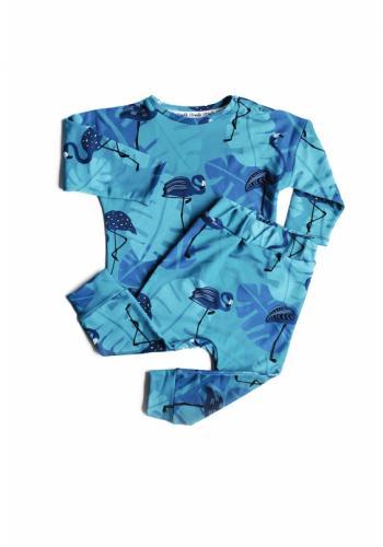 Detská tepláková súprava s potlačou plameniakov v modrej farbe