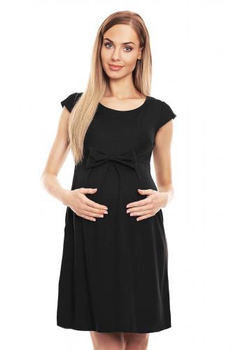 Čierne elegantné rozšírené šaty s mašľou pre tehotné v zľave