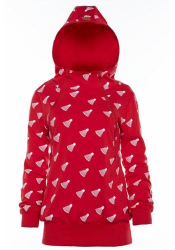 Červená dojčiaca bavlnená mikina s motívom bedmintonovej loptičky a kapucňou