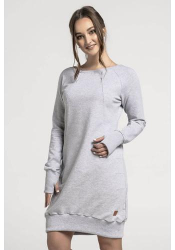Dojčiaca bavlnená mikina/šaty so zipsami v sivej farbe