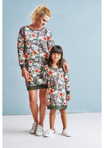 Zelené dojčiace šaty s dlhým rukávom s motívom kvetov a zipsami
