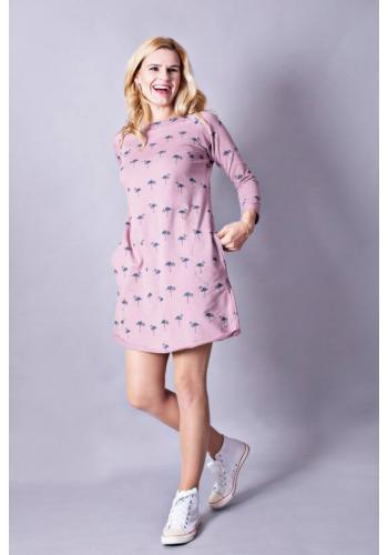 Štýlové bavlnené šaty v práškovo-ružovej farbe s dlhým rukávom s motívom plameniakov pre dámy