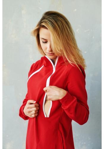 Dojčiaca bavlnená mikina/šaty so zipsami v červenej farbe s kapucňou