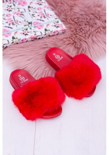 Kožušinové dievčenské šľapky červenej farby
