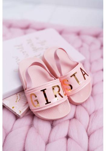 Dievčenské šľapky so zlatým nápisom v ružovej farbe