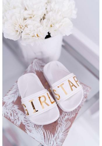 Šľapky bielej farby pre dievčatá so zlatým nápisom