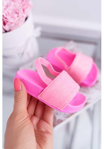 Ružové trblietavé šľapky pre dievčatá