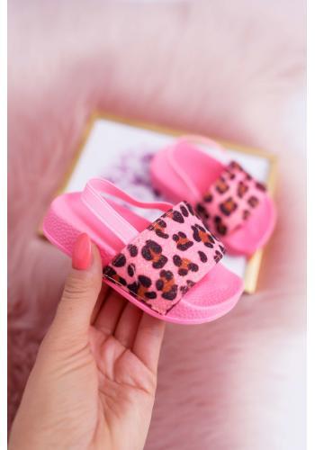 Dievčenské trblietavé šľapky s leopardím vzorom v ružovej farbe