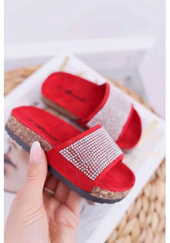 Semišové dievčenské šľapky červenej farby s kryštálmi