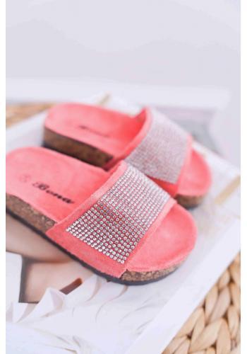 Dievčenské semišové šľapky s kryštálmi v korálovej farbe