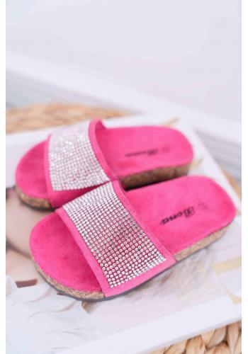 Ružové semišové šľapky s kryštálmi pre dievčatá