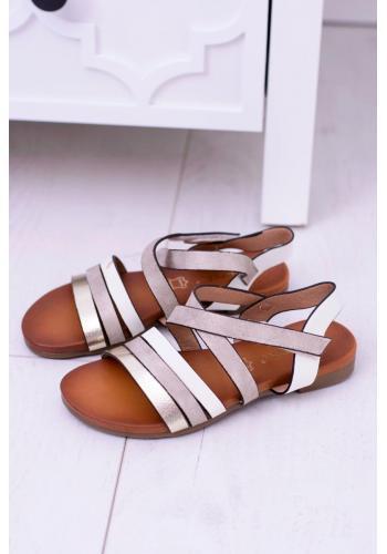 Sandále bielej farby pre dievčatá na suchý zipis