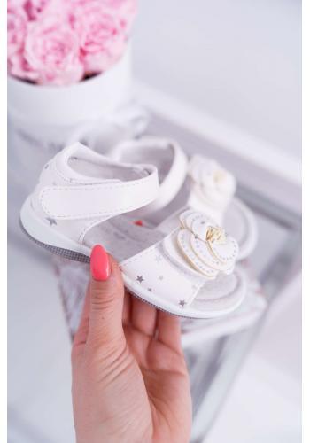 Biele zdobené sandále na suchý zipis pre dievčatá