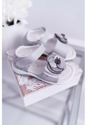 Dievčenské zdobené sandále na suchý zips v sivej farbe