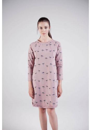 Práškovo ružové dojčiace bavlnené šaty s motívom plameniakov a zipsami