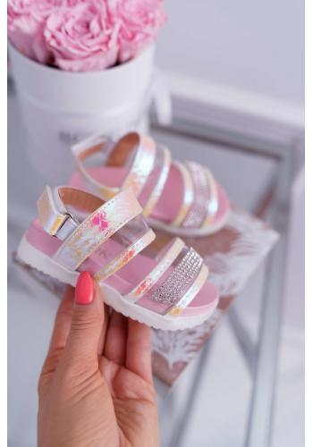 Sandále na suchý zips pre dievčatá v ružovej farbe