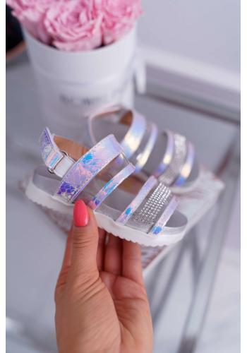 Biele sandále na suchý zips pre dievčatá