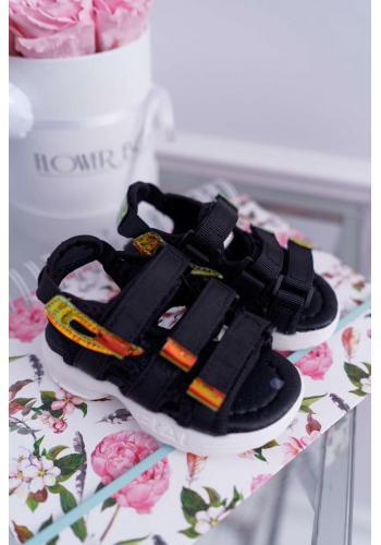 Detské sandále na suchý zips v čiernej farbe