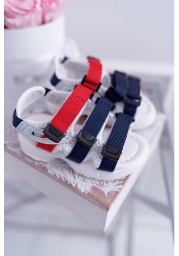 Detské sandále na suchý zips v bielej farbe