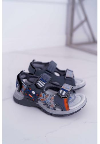 Chlapčenské sandále na suchý zips v sivej farbe