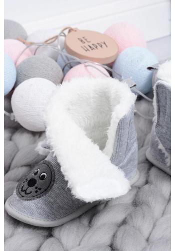 Vysoké detské papuče sivej farby s ušami