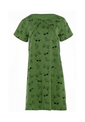 Dojčiaca bavlnená nočná košeľa s kŕmnym panelom v kaki farbe - leto