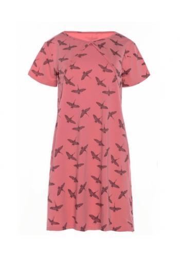 Lososová dojčiaca bavlnená nočná košeľa s kŕmnym panelom - vták žeriav