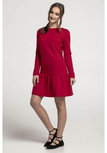 Dojčiace bavlnené šaty v tmavo červenej farbe s volánikom a zipsami na kŕmenie