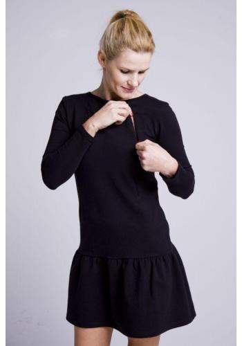 Čierne dojčiace bavlnené šaty s volánikom a zipsami na kŕmenie