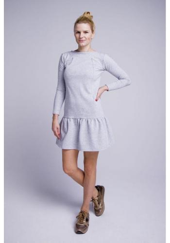 Dojčiace bavlnené šaty s volánikom a zipsami na kŕmenie v sivej farbe