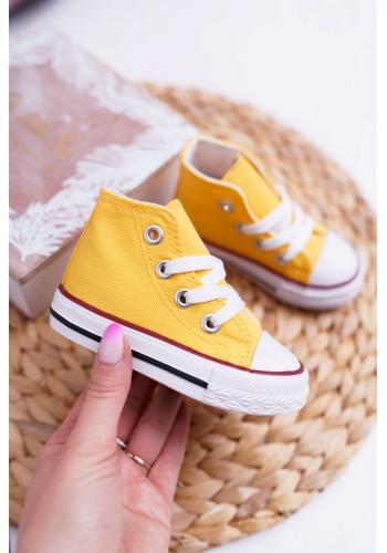 Žlté klasické vysoké tenisky pre deti