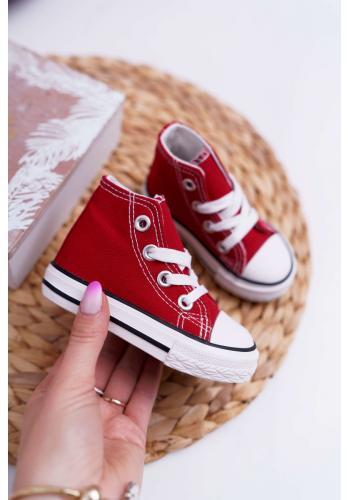 Klasické vysoké tenisky červenej farby