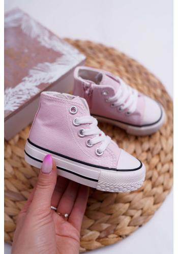 Detské klasické vysoké tenisky v ružovej farbe