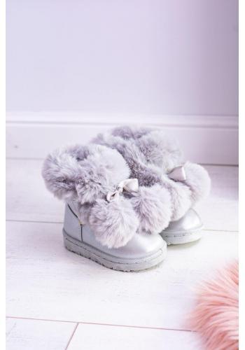 Oteplené detské snehule sivej farby s pompónmi