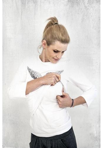 Dojčiaca bavlnená blúzka s kŕmnym panelom a potlačou krídel v bielej farbe