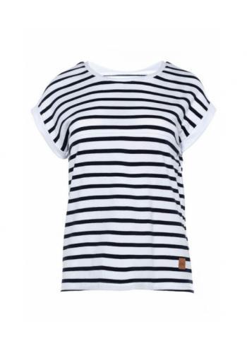 Bielo-čierne bavlnené dojčiace tričko s pruhmi a zipsom na kŕmenie