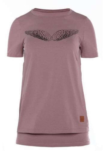 Dojčiace bavlnené tričko v ružovej farbe s krídlami na kŕmenie