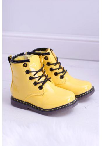 Detské lakované Workery v žltej farbe