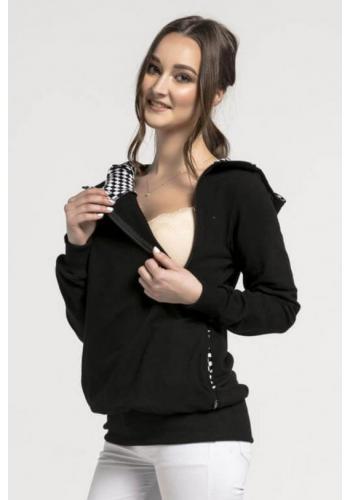 Čierna dojčiaca bavlnená mikina s kapucňou a zipsami - šachovnica