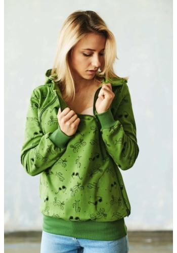 Dojčiaca zelená bavlnená mikina s kapucňou a zipsami - leto