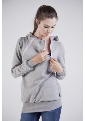 Dojčiaca sivá bavlnená mikina s kapucňou a fialovými zipsami