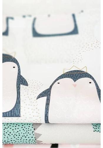 Detská biela obliečka na vankúš a paplón so striebornými iónmi - tučniaky
