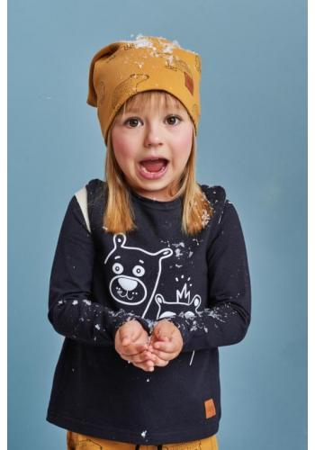 Detský bavlnený nátelík s potlačou medveďov v čiernej farbe