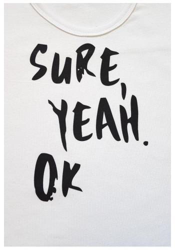 """Detský bavlnený nátelík s nápisom """"Sure Yeah OK"""" v bielej farbe"""