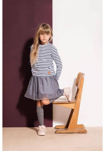 Pruhovaný bavlnený nátelník pre dievčatá v bielo-modrej farbe